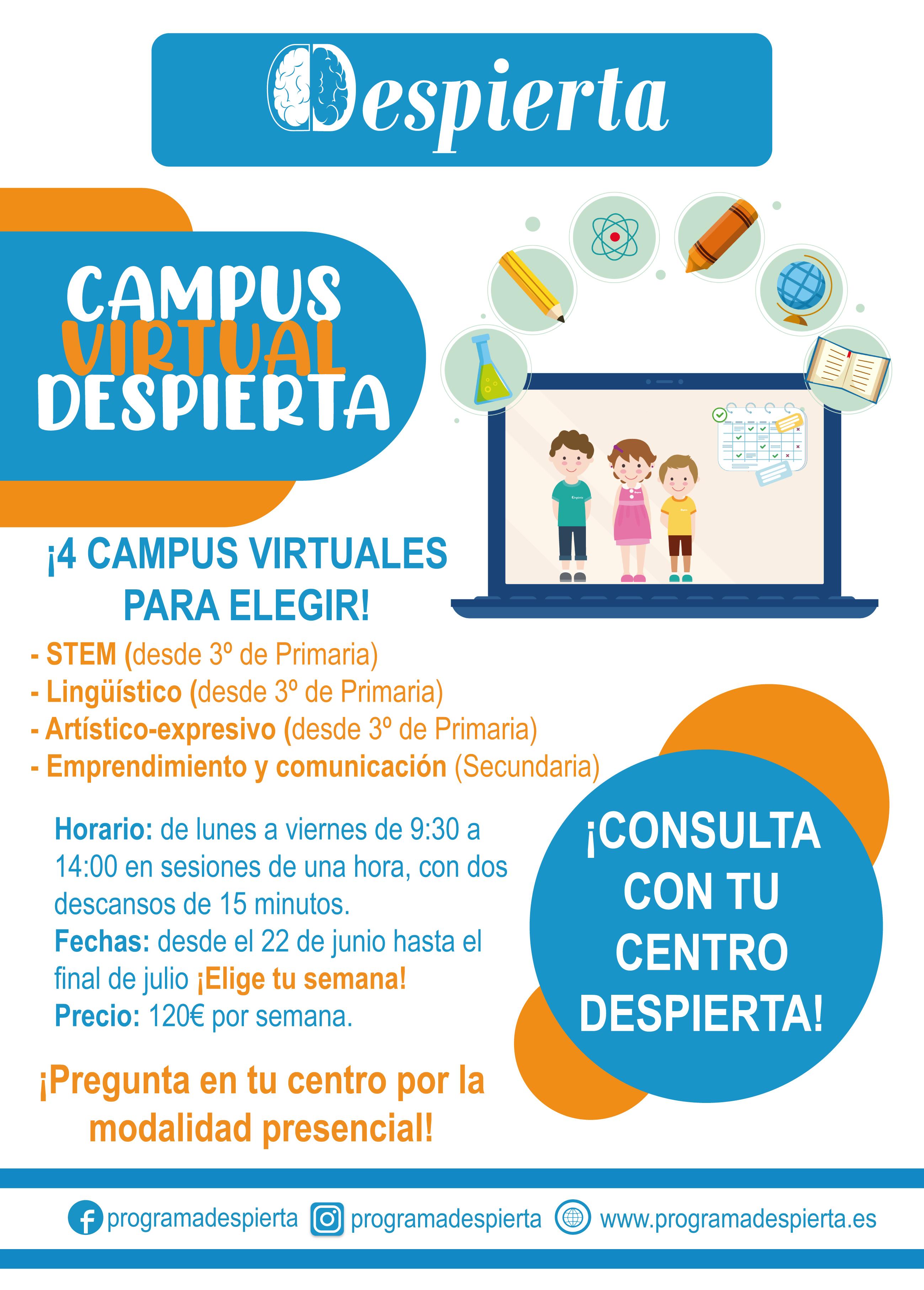 campus virtual verano despierta niños y niñas